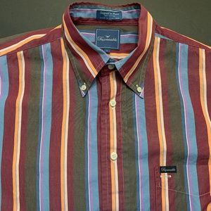 Faconnable Button-Down Stripes Shirt Colorful